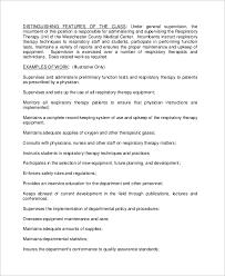 Respiratory Therapist Job Description Resume by Sample Respiratory Therapist Job Description 10 Examples In Pdf