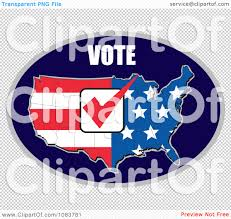 clipart vote over and american flag map with a red vote check mark