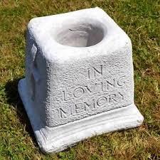 concrete in loving memory graveside memorial vase grave ornament