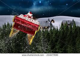 santa flying his sleigh against forest stock illustration