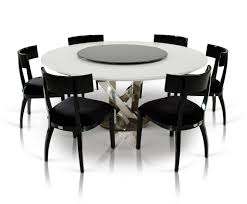 spiral modern round dining table with lazy susan