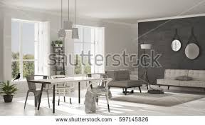 scandinavian living room big windows garden stock illustration