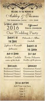 vintage wedding program template rustic typography wedding programs 6 bridesmaids program