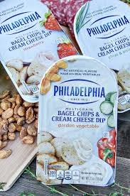 snacking on the go with bagel chips and cream cheese dips tonya