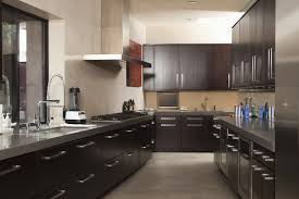 dark kitchen cabinets with countertops stainless steel pull down
