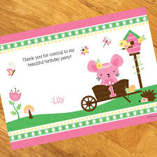 garden 1st birthday personalized thank you notes