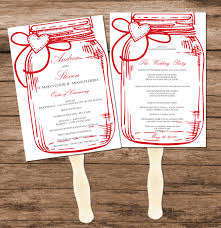 Program Fan Template Diy Red Mason Jar Wedding Program Fan Template Printable Design