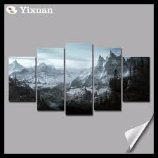 online shop frame canvas painting 5 panels skyrim wall art