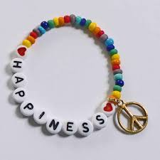 infant name bracelet peace happiness rainbows bracelet personalized name or word