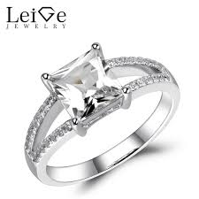 white topaz rings images Leige jewelry white topaz ring princess cut natural gemstone jpg