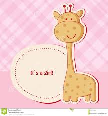 baby girl cards baby girl shower card with giraffe stock photography image 20777222