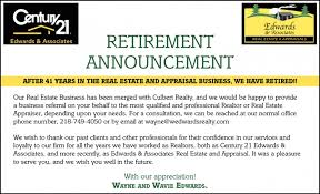 retirement announcement retirement announcement century 21 edwards and associates