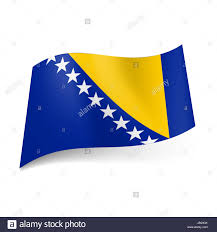 Blue Flag With Stars National Flag Of Bosnia And Herzegovina Yellow Triangle And White