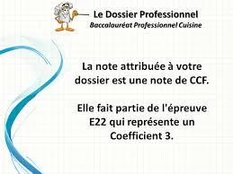 coefficient bac pro cuisine le dossier professionnel baccalauréat professionnel cuisine ppt