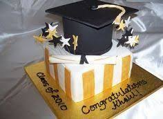 graduation cake with buttercream frosting and fondant accents