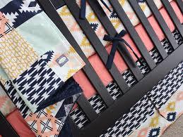 Navy And Coral Crib Bedding Baby Bedding Crib Set Aztec Baby Nursery Bedding Coral Navy