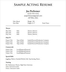 Musical Theater Resume Sample by Sample Musical Theatre Resume Sample Acting Resume 6 Documents In