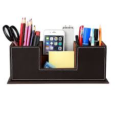 Desk Organizer Leather Pu Leather Desktop Storage Box 4 Compartment Desk Organizer Card
