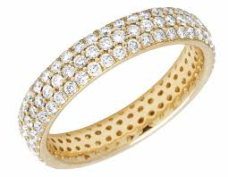 gold eternity rings unisex 10k white gold paved diamond eternity wedding band 3 72ct