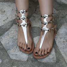 gladiator sandals with skulls metallic leather goth sandals goth