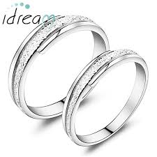 silver wedding ring sets hammered center polished edges promise rings set 925