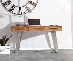 Schreibtisch Reduziert Bürotisch Live Edge Akazie Natur 137x56 Cm Massivholz Baumkante