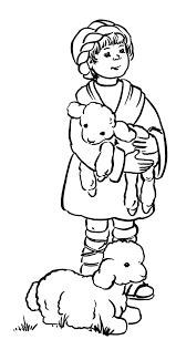 david the shepherd boy hold his sheep colouring page colouring tube