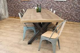 Oak Top Dining Table Industrial Steel Table With Reclaimed And Recycled Oak Top
