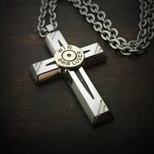 mens necklace with cross images Jet cross men 39 s stainless steel bullet necklace jectz jpg