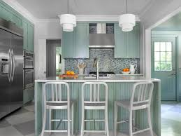 Blue Green Kitchen Cabinets Kitchen Brown Kitchen Table Brown Chairs White Pendant Light
