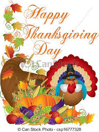 happy thanksgiving day cornucopia turkey illustration happy