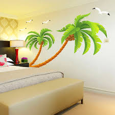 Home Wall Design Online | green coconut tree gulls vinyl wall stickers home decor rooms