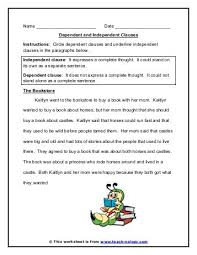 dependent clauses worksheet free worksheets library download and