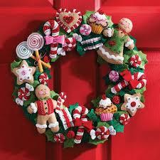 bucilla felt kits bucilla felt wreath kit cookies and candy walmart