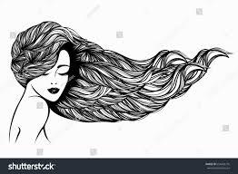 Makeup Hair Salon Beautiful Woman Long Wavy Hair Flowing Stock Vector 654428776