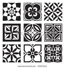 vintage ornamental patterns black white stock vector 631679147