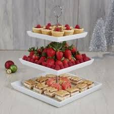 new 3 tier buffet server 3 stoneware serving platter trays metal