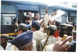 file protest made by adv rahul mhaske against shiv sena at
