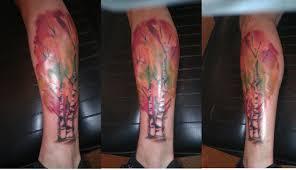 watercolor birch trees zera at brite idea tattoo ypsilanti mi