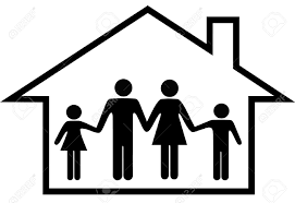 Family Safety A Traditional Family Mom Dad Boy Safe At Home In Their House