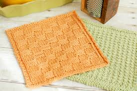 basket weave knit dishcloth pattern petals to picots