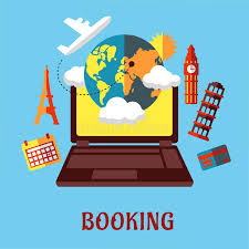 travel booking images Online travel and booking flat concept stock vector illustration jpg