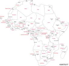 africa map countries and capitals africa map with countries and capital cities stock image and