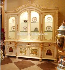 luxury french rococo style white four door glass display cabinet