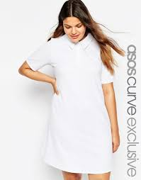 asos swing polo dress in texture in white lyst