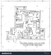 architectural hand drawn floor plan bedrooms stock vector