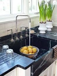 Kitchens With Black Countertops Granite Counter With Black Sink White Sink Black Granite