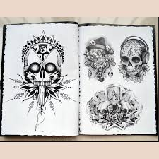 76 pages a4 tattoo book black skull design sketch flash book