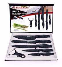 herzog hr m5mc knives kitchen knife set marble coating 5pcs