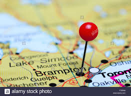 A Map Of Canada by Brampton Pinned On A Map Of Canada Stock Photo Royalty Free Image